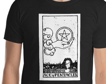 Unisex Mens T Shirt, Licensed Tarot Card Occult Shirt, Ace of Pentacles Tarot Clothing Apparel, XS-4XL,  Softstyle Cotton DTG Print Tee
