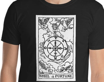 Unisex Mens T Shirt, Licensed Tarot Card Occult Shirt, Wheel of Fortune Tarot Clothing Apparel, XS-4XL,  Softstyle Cotton DTG Custom Tee