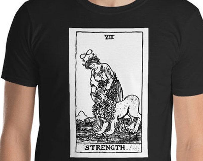 Unisex Mens T Shirt, Licensed Tarot Card Occult Shirt, The Strength Tarot Clothing Apparel, XS-4XL,  Softstyle Cotton DTG Print Custom Tee