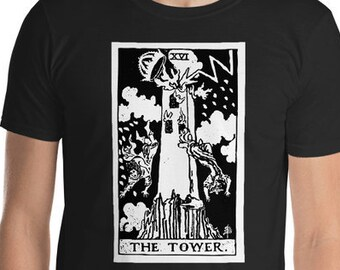 Unisex Mens T Shirt, Licensed Tarot Card Occult Shirt, The Tower Tarot Clothing Apparel, XS-4XL,  Softstyle Cotton DTG Print Custom Tee