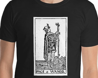 Unisex Mens T Shirt, Licensed Tarot Card Occult Shirt, Page of Wands Tarot Clothing Apparel, XS-4XL,  Softstyle Cotton DTG Custom Tee