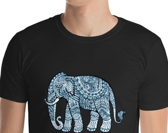 Unisex Mens T Shirt, Mandala Elephant Boho Bohemian Animal Print Tee Shirt, S-3XL Size, Softstyle Cotton DTG Unisex Mens Shirt Apparel