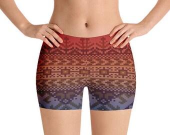 All Over Print Yoga Shorts, Boho Bohemian Geometric Ikat Print Bedtime Sleepwear, Gym Workout Polyester Spandex Stretch Fit XS-3XL Size