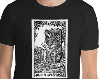 Unisex Mens T Shirt, Licensed Tarot Card Occult Shirt, Queen of Pentacles Tarot Clothing Apparel, XS-4XL,  Softstyle Cotton DTG Custom Tee