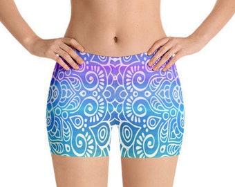 All Over Print Yoga Shorts, Boho Bohemian Hippie Mandala Print Bedtime Sleepwear, Gym Workout Polyester Spandex Stretch Fit XS-3XL Size