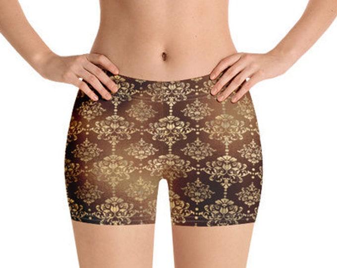 Womens Yoga Shorts, Boho Bohemian Shorts,  Damask Filigree Shorts, Bedtime Sleepwear, Gym Workout Polyester Spandex Shorts XS-3XL Size