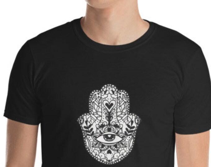 Unisex Mens T Shirt, Mandala Tribal Hamsa Boho Bohemian Print Tee Shirt, S-3XL Size, Softstyle Cotton DTG Unisex Mens Shirt Apparel