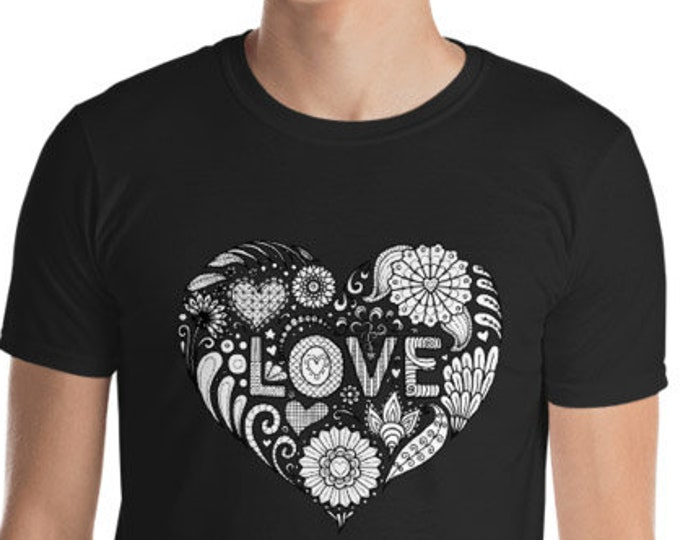 Unisex Mens T Shirt, Mandala Tribal LOVE Boho Bohemian Animal Tee Shirt, S-3XL Size, Softstyle Cotton DTG Unisex Mens Shirt Apparel