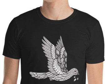 Unisex Mens T Shirt, Tribal Peaceful Dove Boho Bohemian Animal Tee Shirt, S-3XL Size, Softstyle Cotton DTG Unisex Mens Shirt Apparel