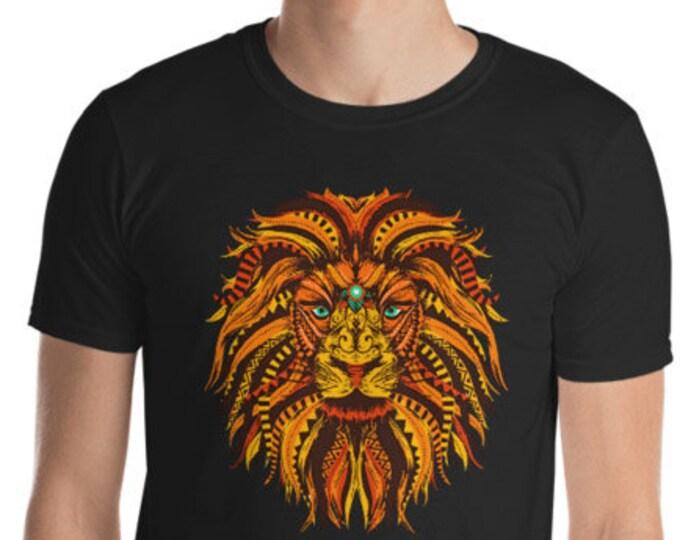 Unisex Mens T Shirt, Mandala Tribal Lion Boho Bohemian Animal Tee Shirt, S-3XL Size, Softstyle Cotton DTG Unisex Mens Shirt Apparel