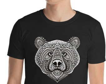 Unisex Mens T Shirt, Mandala Tribal Bear Boho Bohemian Animal Tee Shirt, S-3XL Size, Softstyle Cotton DTG Unisex Mens Shirt Apparel