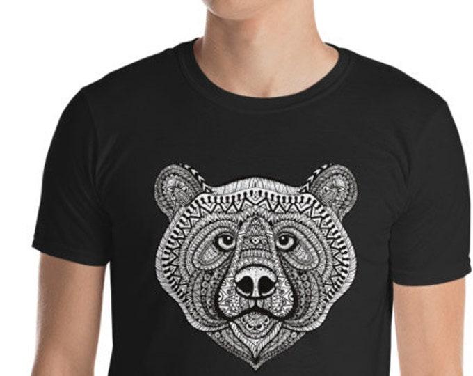 Unisex Mens T Shirt, Mandala Tribal Bear Boho Bohemian Animal Tee Shirt, S-3XL Size, Softstyle Cotton DTG Unisex Mens Shirt Apparel