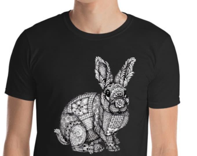 Unisex Mens T Shirt, Mandala Rabbit Boho Bohemian Animal Print Tee Shirt, S-3XL Size, Softstyle Cotton DTG Unisex Mens Shirt Apparel