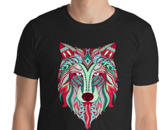 Unisex Mens T Shirt, Mandala Tribal Wolf Boho Bohemian Animal Tee Shirt, S-3XL Size, Softstyle Cotton DTG Unisex Mens Shirt Apparel