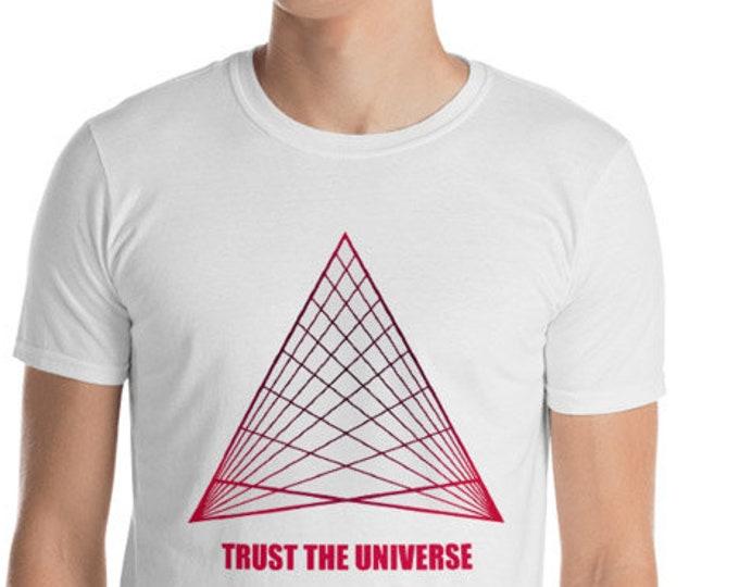 Unisex Mens T Shirt, Trust the Universe Boho Bohemian Print Tee Shirt, S-3XL Size, Softstyle Cotton DTG Unisex Mens Shirt Apparel