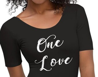 Womens Bodysuit, One Love Quote Inspirational Body Suit, Stretch Fit Short Sleeve Cotton Spandex Catsuit Leotard Activewear, XS-XL Clothing