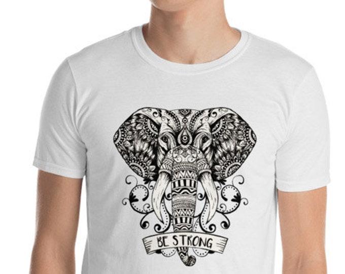 Unisex Mens T Shirt, Mandala Elephant Boho Bohemian Animal Print Tee Shirt, S-3XL Size, Softstyle Cotton DTG Unisex Mens Shirt Apparel