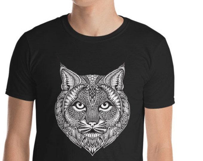 Unisex Mens T Shirt, Mandala Tribal Lynx Cat Boho Bohemian Animal Shirt, S-3XL Size, Softstyle Cotton DTG Unisex Mens Shirt Apparel