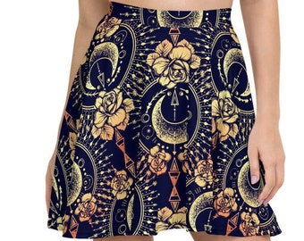 Womens Skater Skirt, Circle Skirt, Wildflower Flowers Floral Skirt, Custom All Over Print Skirt, XS-3XL Size, Bohemian Hippie Clothing