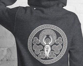 Unisex Heavyweight Hoodie, Triple Moon Goddess Occut Sweatshirt, Pullover Front Pocket Hoodie, S-5XL Size, Wicca Moon Sweatshirt Jacket