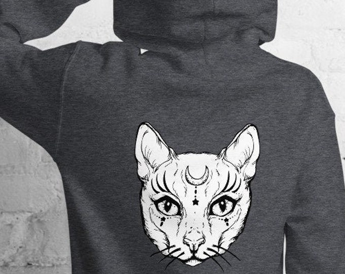 Unisex Heavyweight Hoodie, Celestial Animals Cats Occut Sweatshirt, Pullover Front Pocket Hoodie, S-5XL Size, Wicca Moon Sweatshirt Jacket