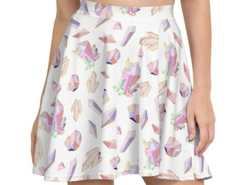 Womens Skater Skirt, Circle Skirt, Boho Crystals Gems Skirt, Crystals Custom All Over Print Skirt, XS-3XL Size, Bohemian Hippie Clothing