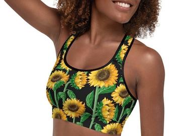 Womens Padded Sports Bra, Boho Bohemian Batik Floral Print Sports Bra, All Over Print Yoga Gym Apparel Clothing, Flower Racerback Sports Bra