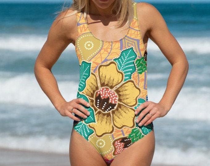 Womens Swim Suit, XS-3XL Full Piece Batik Floral Hippie Swimsuit, Boho Bohemian One Piece Swim wear, All Over Print Bathing Suit Bodysuit