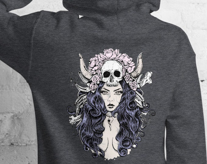 Unisex Heavyweight Hoodie, Goddess Skull Occult Sweatshirt, Pullover Front Pocket Hoodie, S-5XL Size, Wicca Floral Sweatshirt Jacket