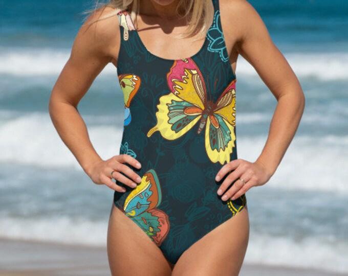 Womens Swim Suit, XS-3XL Full Piece Batik Floral Butterfly Hippie Swimsuit, Boho Bohemian One Piece Swim wear, All Over Print Bathing Suit