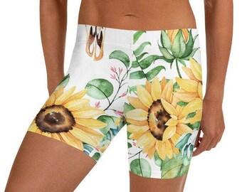 Womens Yoga Shorts, Boho Bohemian Floral Print Shorts, Bedtime Sleepwear, Gym Workout Shorts, Athletic Active Sportswear Shorts, XS-3XL Size