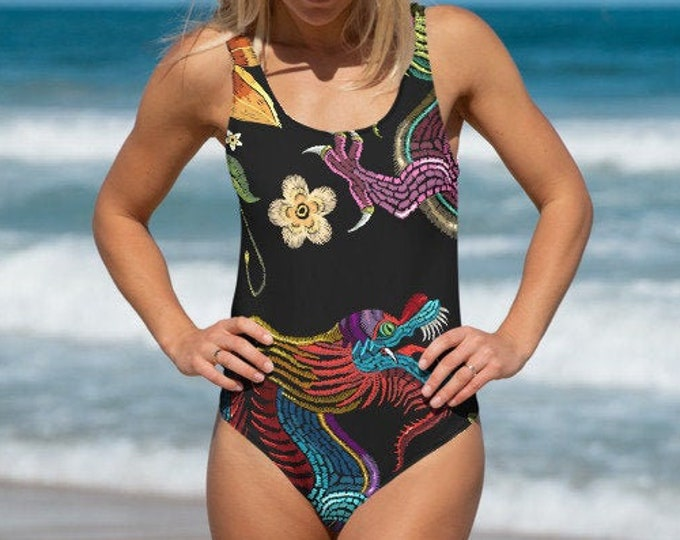 Womens Swim Suit, XS-3XL Full Piece Japanese Asian Art Swimsuit, Boho Bohemian One Piece Swim wear, All Over Print Bathing Suit Bodysuit