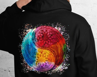 Unisex Heavyweight Hoodie, Boho Hippie  Rainbow Yin Yang Occult Sweatshirt, Pullover Front Pocket Hoodie, S-5XL Size, Wicca Jacket