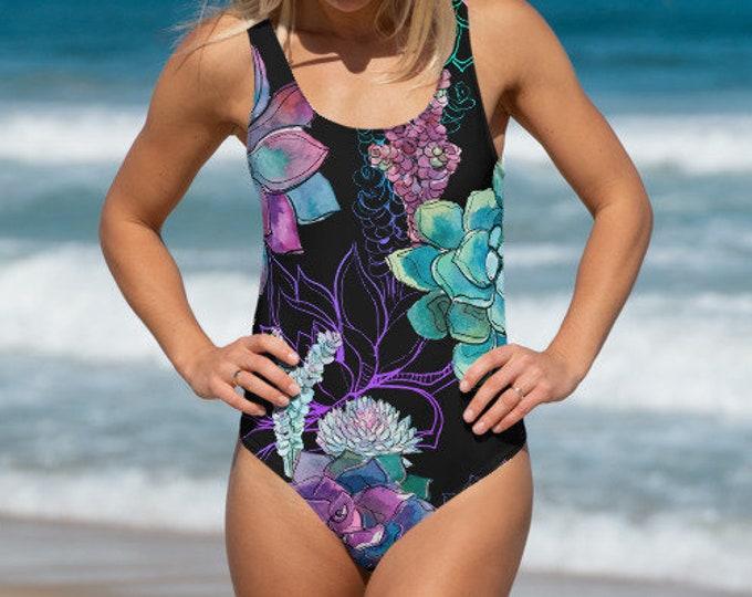 Womens Swim Suit, XS-3XL Full Piece Succulents Plants Floral Hippie Swimsuit, Boho Bohemian One Piece Swim wear, All Over Print Bathing Suit