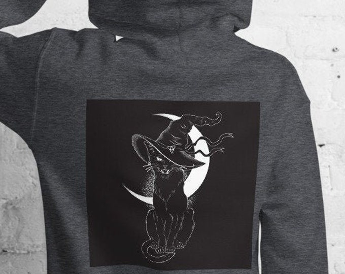 Unisex Heavyweight Hoodie, Celestial Cat Occult Print Sweatshirt, Pullover Front Pocket Hoodie, S-5XL Size, Wicca Moon Sweatshirt Jacket
