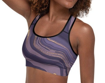 Womens Padded Sports Bra, Boho Bohemian Damask Marble Sports Bra, All Over Print Yoga Gym Apparel Clothing, Padded Racerback Sports Bra