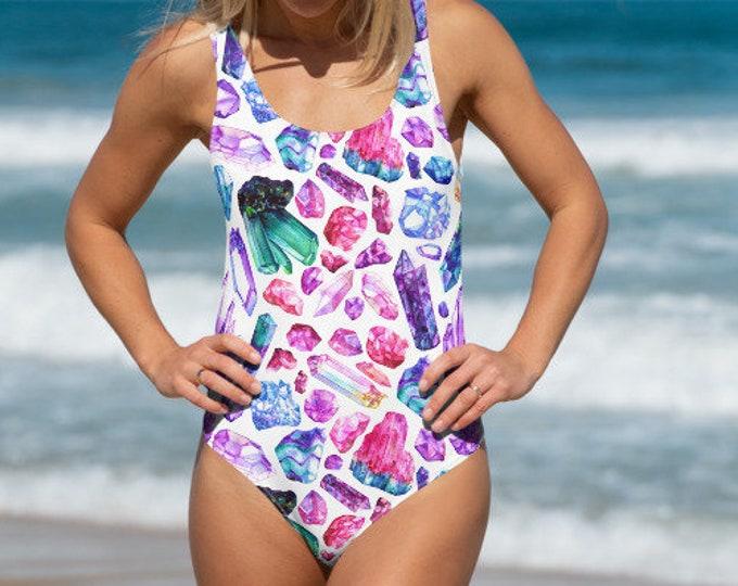 Womens Swim Suit, XS-3XL Full Piece Crystals Gems Hippie Swimsuit, Boho Bohemian One Piece Swim wear, All Over Print Bathing Suit Bodysuit
