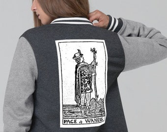 Womens Letter Jacket, Tarot Card Occult Print Jacket Coat, Snap Front Letter Jacket, S-2XL Size, Divination Tarot Medium Weight Jacket Coat