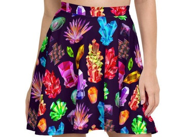 Womens Skater Skirt, Circle Skirt, Boho Crystals Gems Skirt, Crystals Custom All Over Print Skirt, XS-3XL Size, Bohemian Hippie Clothing