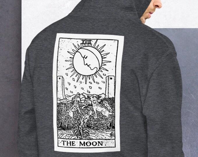 Unisex Heavyweight Hoodie, Tarot Card Occult Print Sweatshirt, Pullover Front Pocket Hoodie, S-5XL Size, Divination Tarot Sweatshirt Jacket
