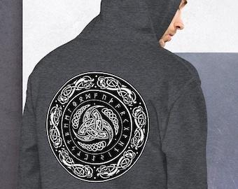 Unisex Heavyweight Hoodie, Boho Hippie Celtic Knot Occult Sweatshirt, Pullover Front Pocket Hoodie, S-5XL Size, Wicca Rune Sweatshirt Jacket