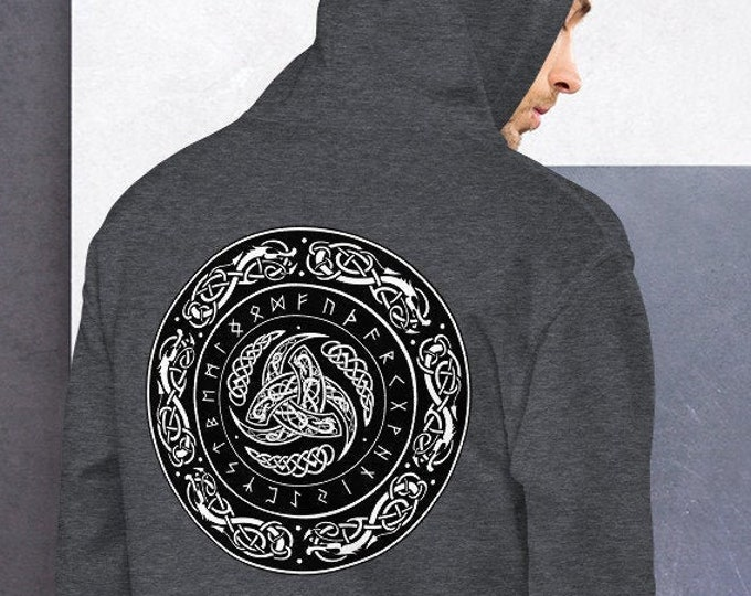 Unisex Heavyweight Hoodie, Boho Hippie Celtic Knot Occult Sweatshirt, Pullover Front Pocket Hoodie, S-5XL Size, Wicca Rune Sweatshirt Jacket
