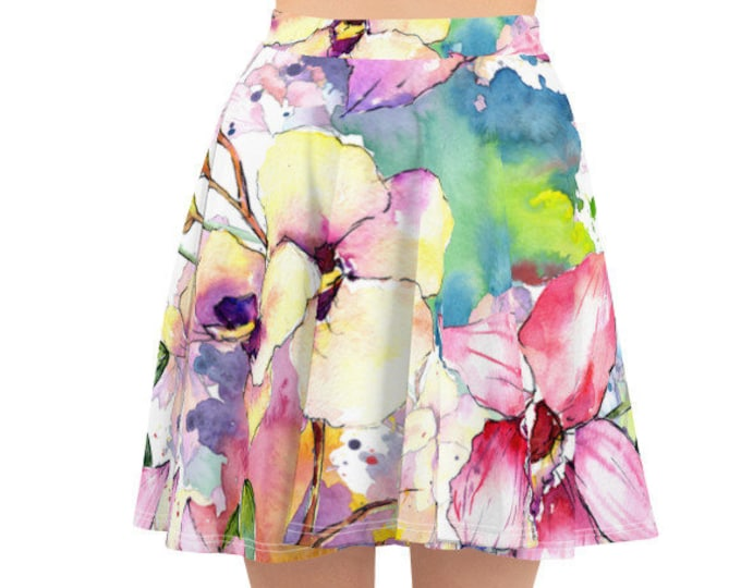 Womens Skater Skirt, Circle Skirt, Lilies Flowers Floral Skirt, Custom All Over Print Skirt, XS-3XL Size, Bohemian Hippie Clothing