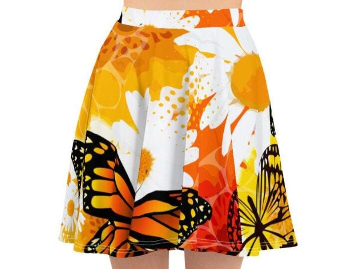 Womens Skater Skirt, Circle Skirt, Flower Floral Butterflies Print Skirt, Custom All Over Print Skirt, XS-3XL Size, Bohemian Hippie Clothing
