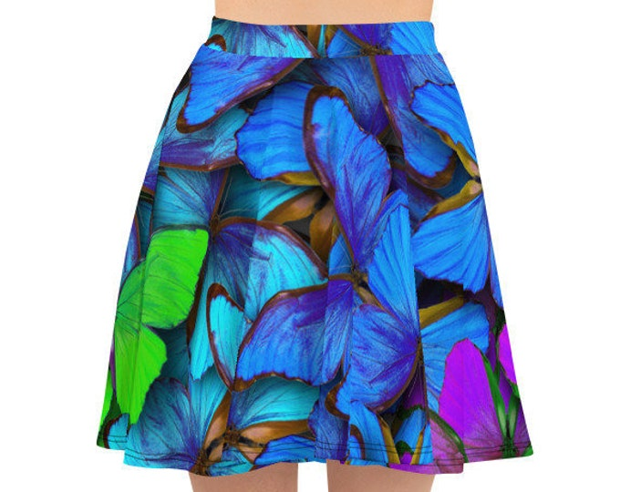 Womens Skater Skirt, Circle Skirt, Rainbow Blue Butterflies Print Skirt, Custom All Over Print Skirt, XS-3XL Size, Bohemian Hippie Clothing