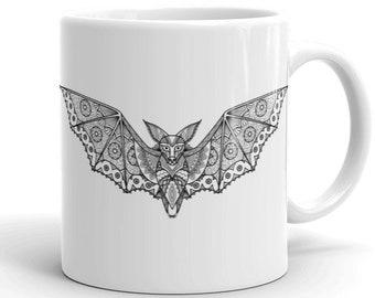 11oz Ceramic Mug, Boho Bohemian Flying Bat Novelty Mug, Novelty Drink Mug, Animal Coffee Mug, Boho Ceramic Mug, Gift for Her, Gift for Him
