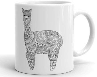 11oz Ceramic Mug, Boho Bohemian Llama Novelty Mug, Novelty Drink Mug, Animal Coffee Mug, Boho Ceramic Mug, Gift for Her, Gift for Him