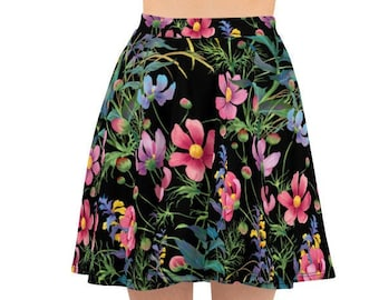 Womens Skater Skirt, Circle Skirt, Wildflower Flowers Floral Skirt, Custom All Over Print Skirt, XS-3XL Size, Bohemian Hippie Clothing