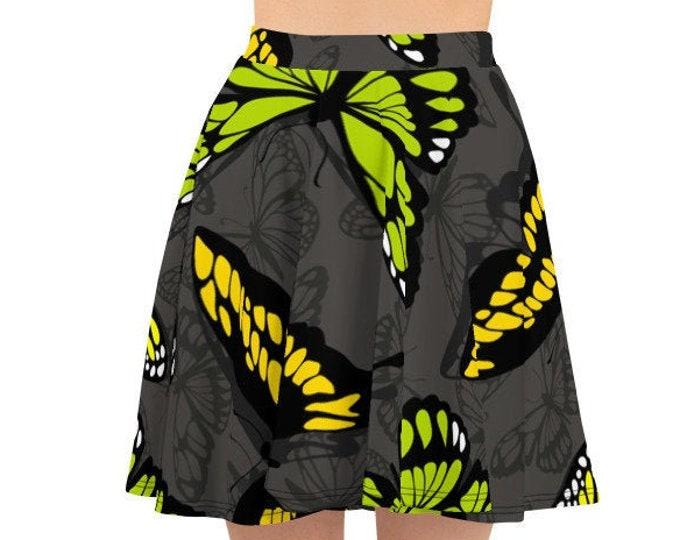 Womens Skater Skirt, Circle Skirt, Yellow Green Butterflies Print Skirt, Custom All Over Print Skirt, XS-3XL Size, Bohemian Hippie Clothing