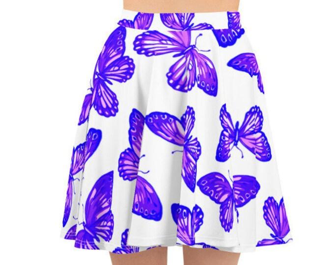 Womens Skater Skirt, Circle Skirt, Butterflies Butterfly Skirt, Custom All Over Print Skirt, XS-3XL Size, Bohemian Hippie Clothing